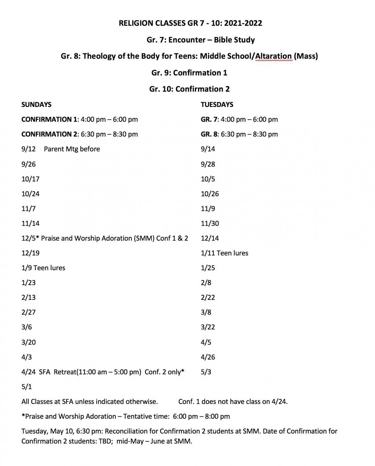 Class Dates Gr 7-10 2020-2021 Final 2